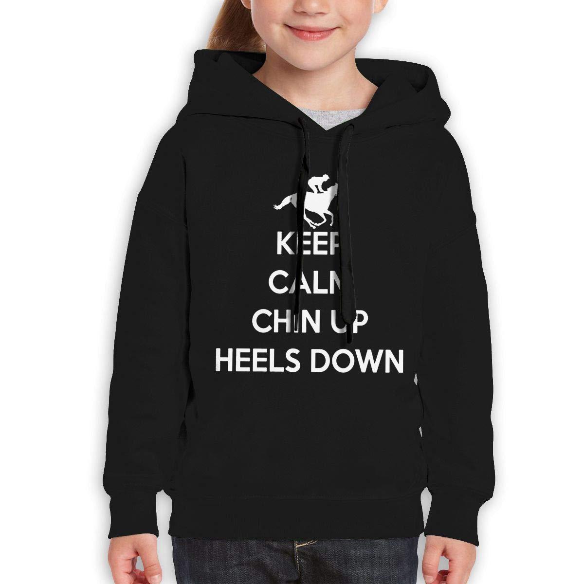 Boys Girls Keep Calm Chin Up Heels Down Teen Youth Hoody Black