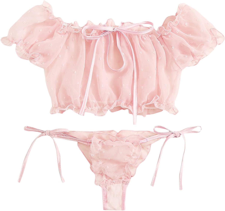 SheIn Women's Self Tie Ruffle Trim Dobby Mesh Lingerie Set Sexy Bra and Panty: Clothing