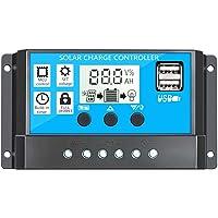 Controlador de carga solar inteligente Regulador del controlador PWM con pantalla LCD USB dual Controlador de batería del panel solar