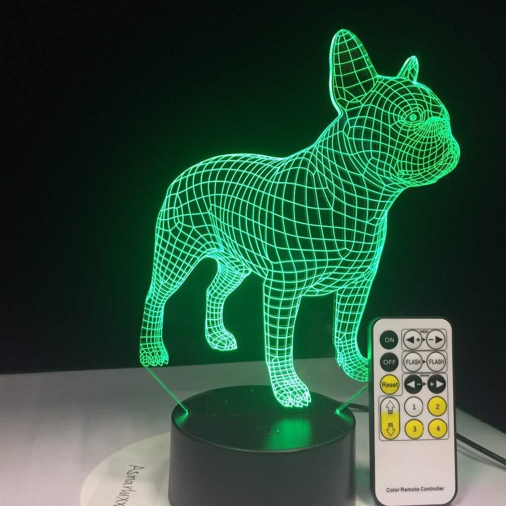 LED USB Lampada da notte 3D tavolo Bulldog francese BLE Telecomando Touch Control cane regalo di compleanno Sonno