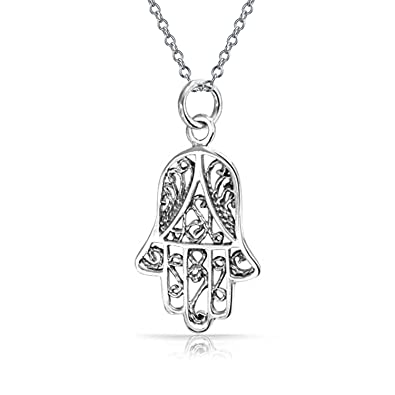 sterling peace pendant diamond sign hamsa file silver