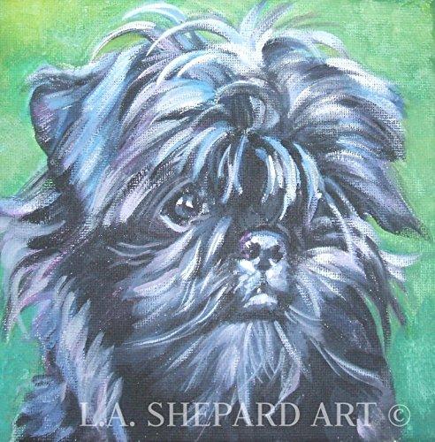 """An Affenpinscher dog art portrait print of an LA Shepard painting 8x8"""""""