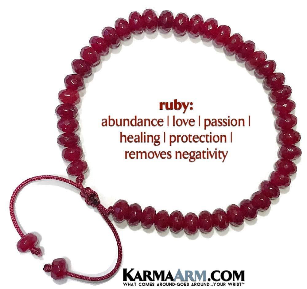 Yoga Chakra Reiki Healing Meditation Bracelet Yoga Chakra Tibetan Chakra Adjustable Macrame Pull Tie Bracelet Beaded Bracelets ABUNDANT LOVE: Ruby