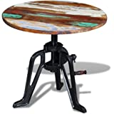 Daonanba Industrial Style Sturdy Side Table Dyrable Round End Table Solid Reclaimed Wood Cast Iron