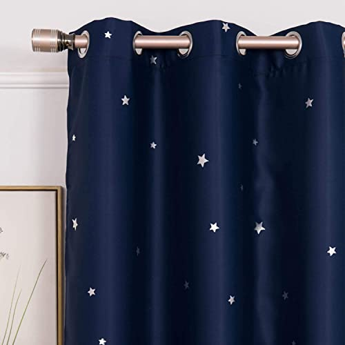 Blackout Navy Blue Boys Room Curtains Nursery Baby Room Darkening Window Treatments Curtains Thermal Insulated Drapes and Curtains for Kids Bedroom Living Room Sliding Door 84 Inch Length 2 Panels