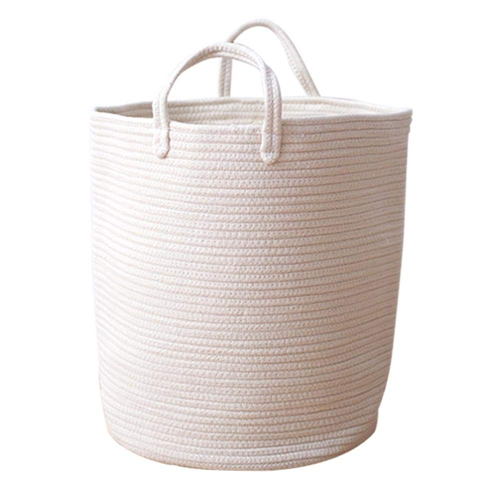 Storage Organizer Toy Storage Basket with Handles Nursery and Home Decoration Waroomss Woven Natural Cotton Rope Storage Baskets,Baby Nursery Storage Basket,Laundry Basket