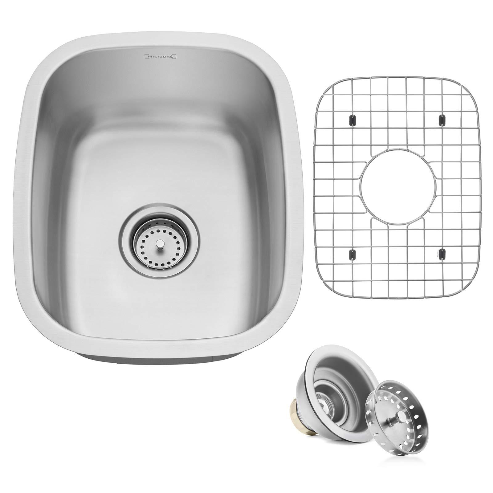 Miligore 15'' x 18'' x 8'' Deep Single Bowl Undermount 16-Gauge Stainless Steel Kitchen/Bar/Prep Sink - Includes Drain/Grid