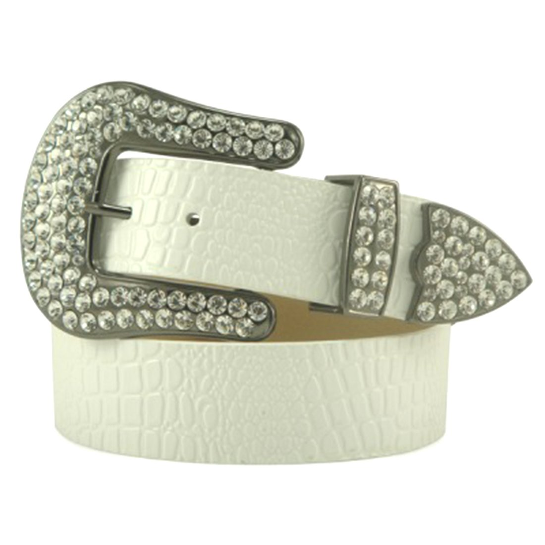White Patent Leather Belt in a Crocodile Pattern, Clear Crystal, Size M/L