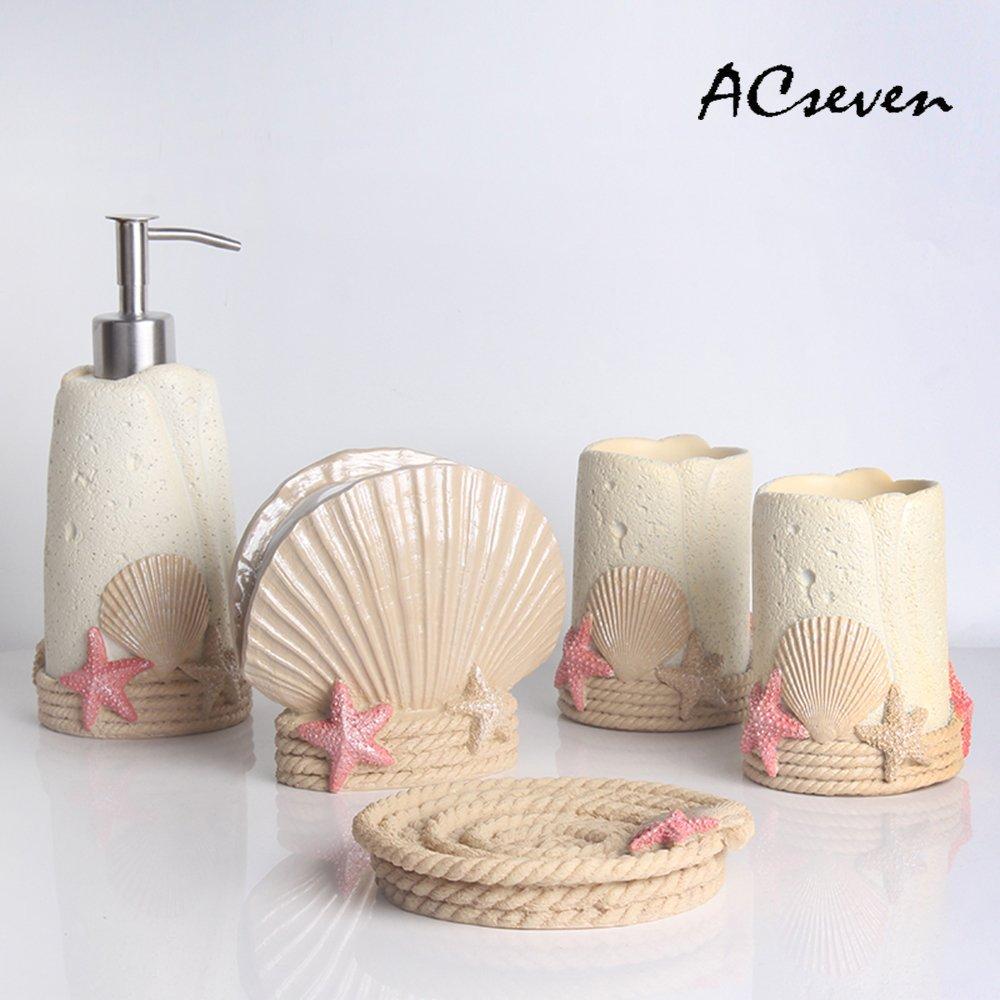 Creative Beach Shell 5 Pieces Bathroom Accessory Set, Creative Soap Dish Liquid Soap Dispenser Toothbrush Holder Tumbler