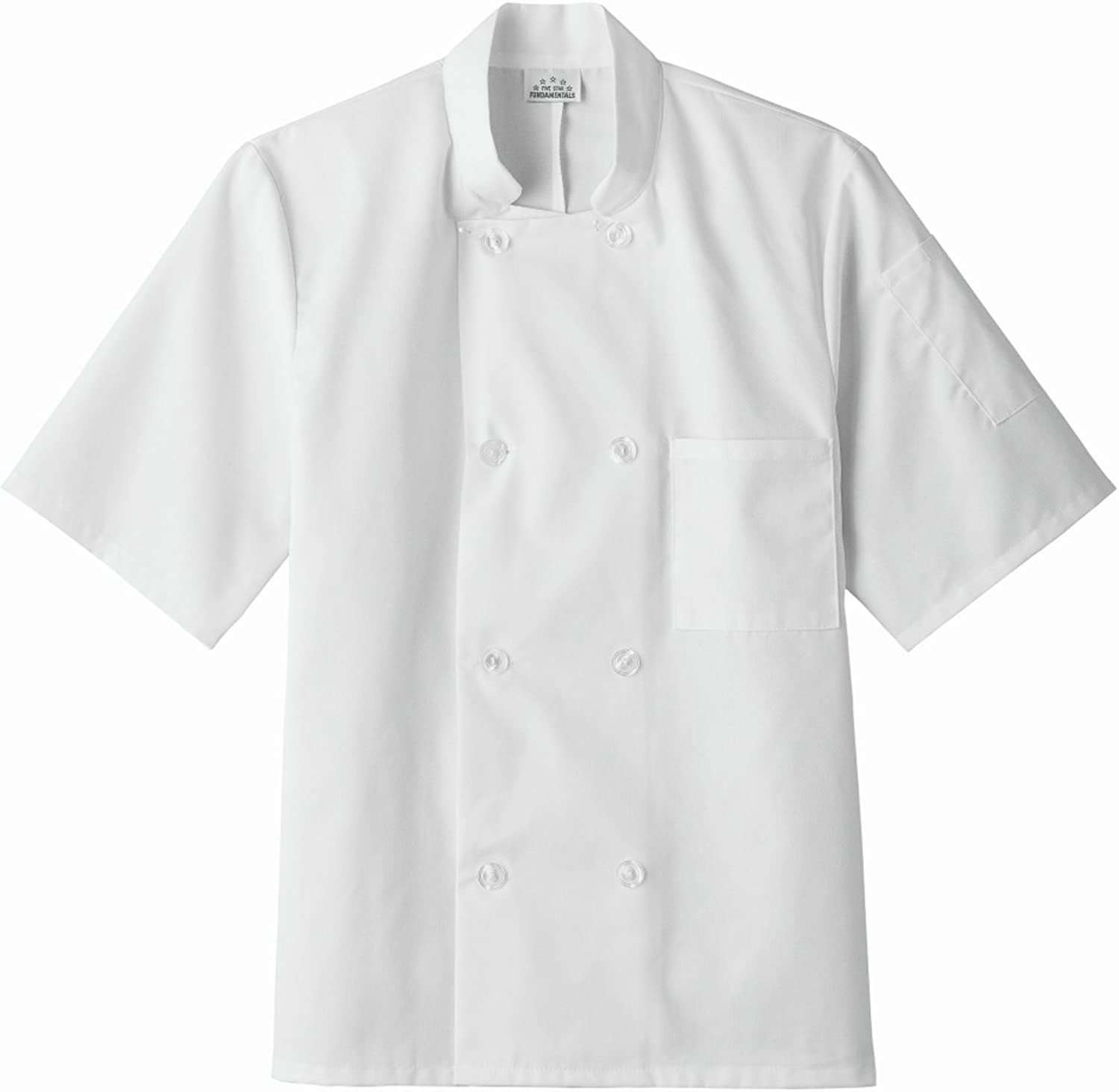 Five Star Chef Apparel 18001 Unisex Short Sleeve Chef Coat