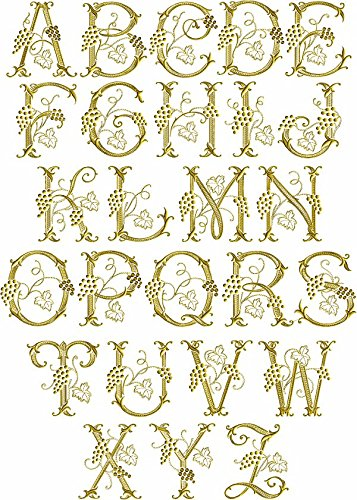 ThreaDelight ABC Machine Embroidery Designs Set - Grape Vines Font Embroidery Designs 26 Capital Letters 4x4 Hoop - CD (Embroidery Designs Letters Fonts)