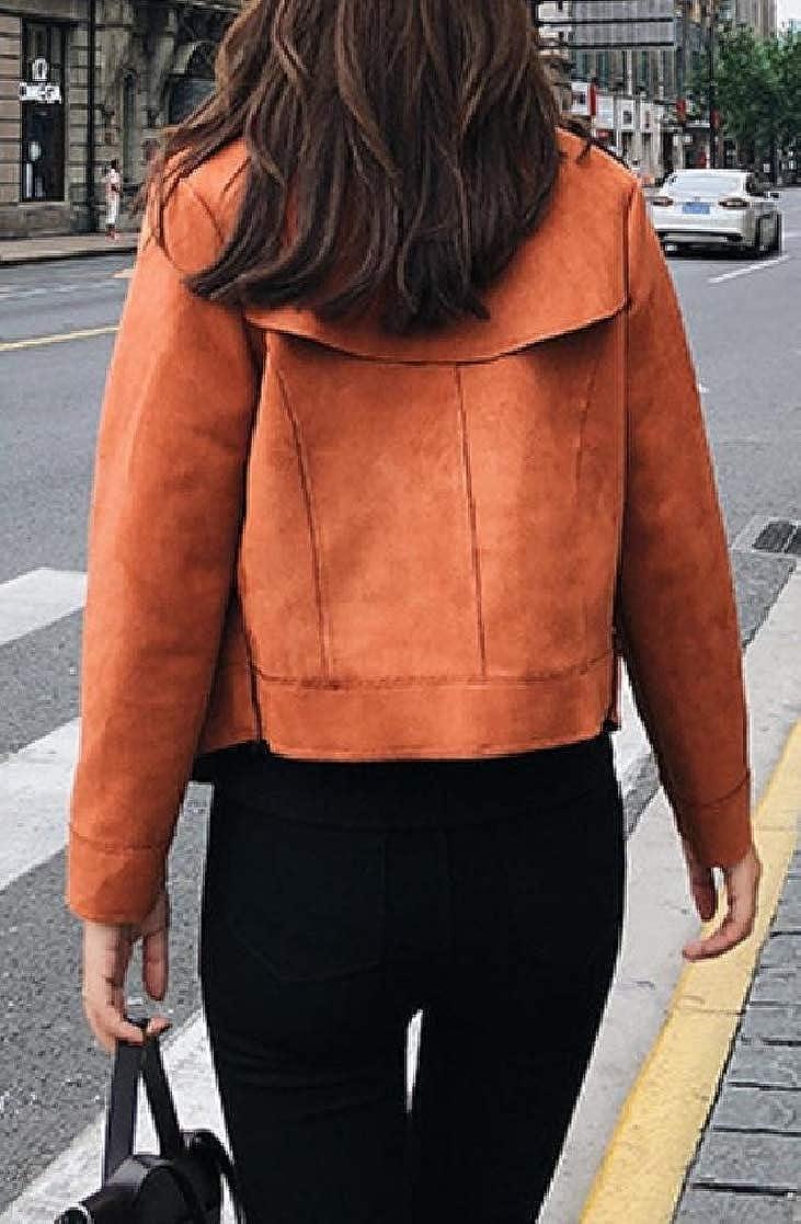 YUNY Womens Short Lapel Solid Zipper Pocket Long-Sleeve Outwear Coat Pattern1 M