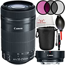 MUST-HAVE KIT FOR Canon EOS M, EOS M2, EOS M2 MARK II, EOS M3, EOS M10. Includes Canon EF-S 55-250mm f/4-5.6 IS STM Lens + Canon EF-M Lens Adapter Kit for Canon EF / EF-S Lenses 6098B002 + Lens Pen + Dust Blower + Microfiber Cleaning Cloth - International Version (No Warranty)