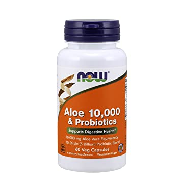NOW Aloe 10,000 & Probiotics,60 Veg Capsules