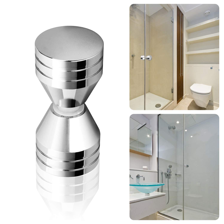 Wandefol 2 unidades, 6 x 3 cm, mango de aluminio de cristal Tirador para puerta de ducha