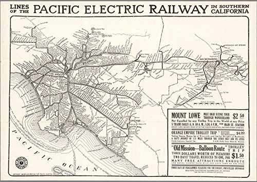 Map Pacific Electric Railway (Historic Map | Lines of The Pacific Electric Railway in Southern California. 1912, | Antique Vintage Decor Poster Wall Art Reproduction | 24in x 34in)
