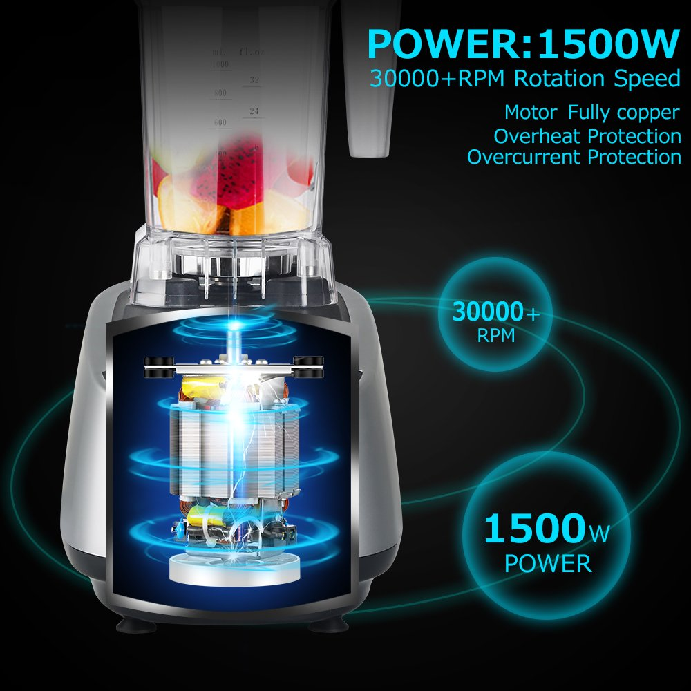 Coolife Batidora Profesional de Gran Potencia 1500W y 30000 rpm Jarra de Tritan de Libre de BPA Botón con P para Limpiar y 5 Velocidades Diferentes para ...