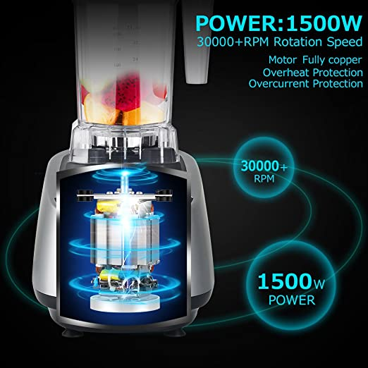 Coolife Batidora Profesional de Gran Potencia 1500W y 30000 rpm Jarra de Tritan de Libre de BPA Botón con P para Limpiar y 5 Velocidades ...
