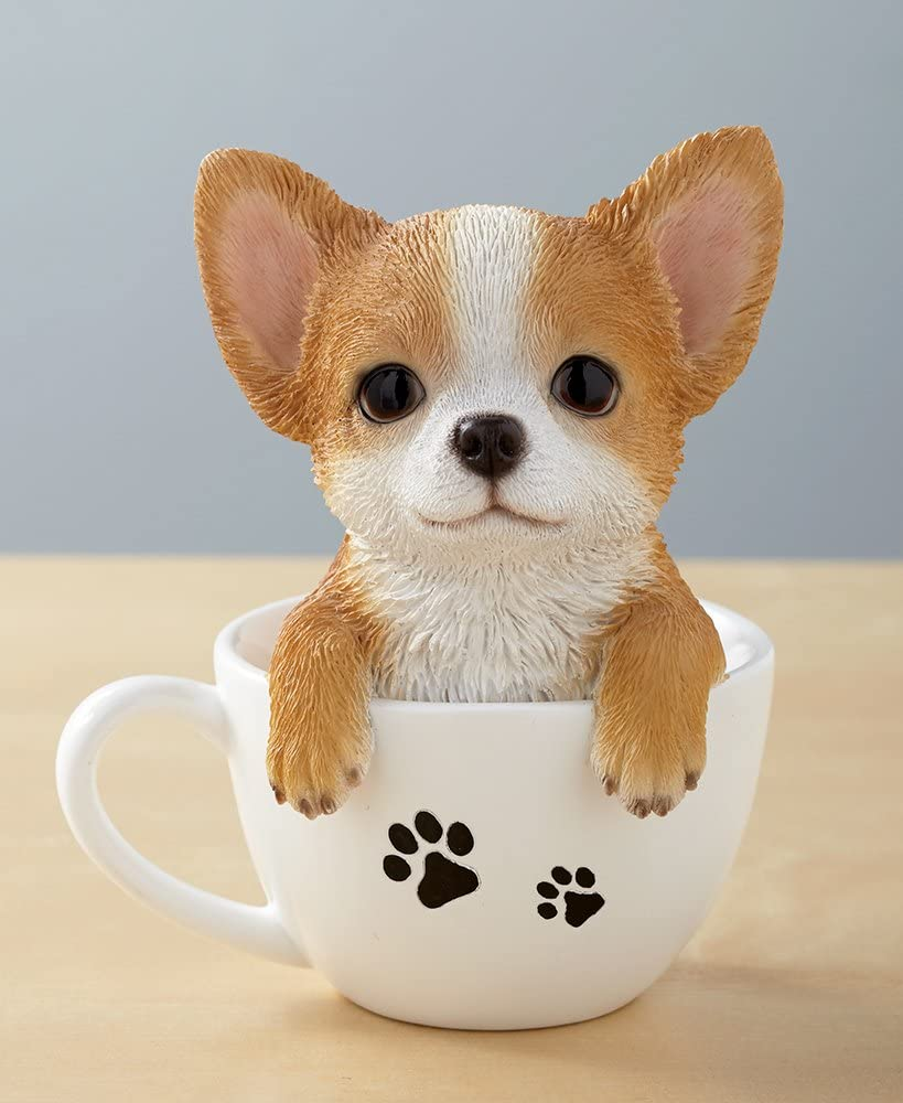 The Lakeside Collection Teacup Pup Figurine - Cute Dog Statue in Teacup - Chihuahua