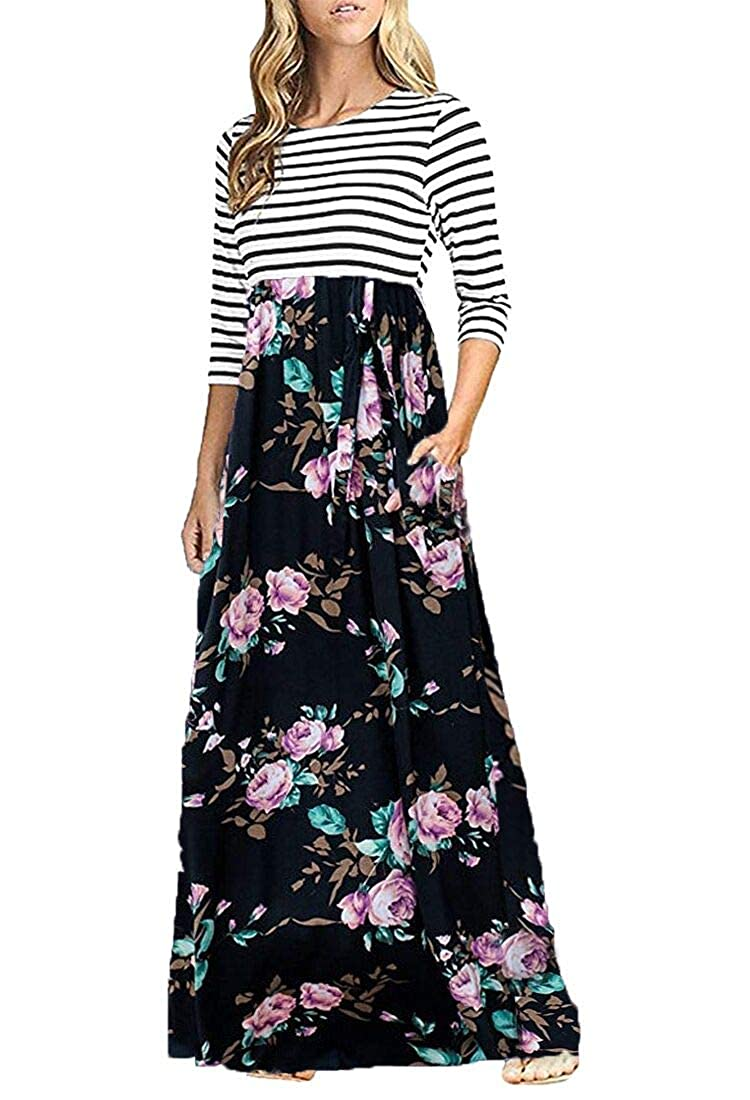 4024fd94d3c OURS Women s Casual 3 4 Sleeve Elastic Waist Striped Maxi Dress with  Pockets (Black Floral