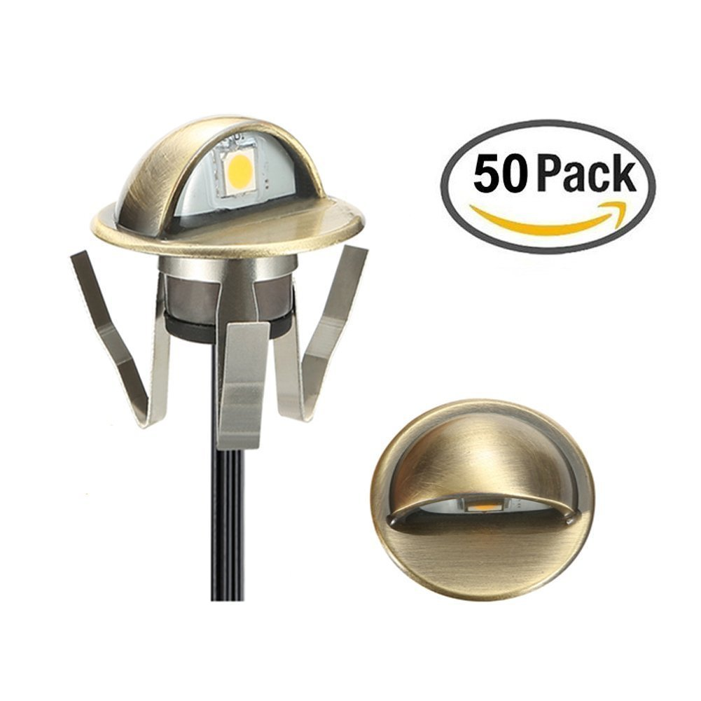 LED Deck Stair Light Kit, Sumaote 50 Pack Low Voltage Waterproof IP65 Φ1.38'' LED Step Light Wood Recessed Warm White LED Lighting Outdoor Garden Yard Patio Step Landscape Decoration Lamp, Green Bronze