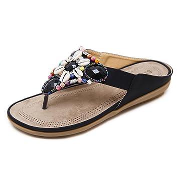 Womens Sommer Flip-Flops böhmische flache Ferse Sandalen ethnischen Stil Perlen Strand Mode Hausschuhe (schwarz Aprikose blau rot) ( Color : Black , Größe : 40 )