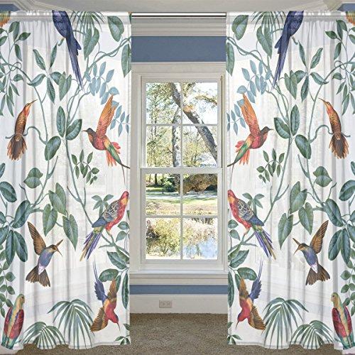 ALIREA Aviary Multi Pattern 2 Panels Sheer Voile Window Curtain Treatment Drapes 55