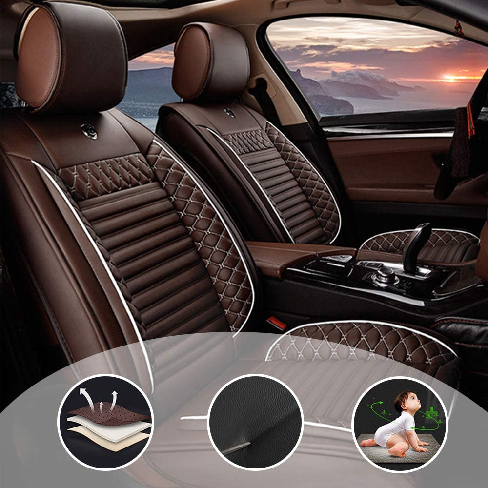changlaiwang Waterproof PU Leather 5-Seats Car Seat Covers Full Set Universal for Sedan SUV Truck Fit for Lexus RX350 2007-2015 Protector Airbag Compatible Coffee