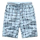 Desirca Hot Summer Men Plaid Shorts Classic Design Cotton Casual Beach Short Pants Famous Shorts Plus Size 4Xl Sky Blue Xl