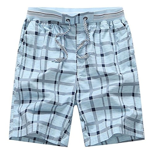 Desirca Hot Summer Men Plaid Shorts Classic Design Cotton Casual Beach Short Pants Famous Shorts Plus Size 4Xl Sky Blue L Design Cotton Short