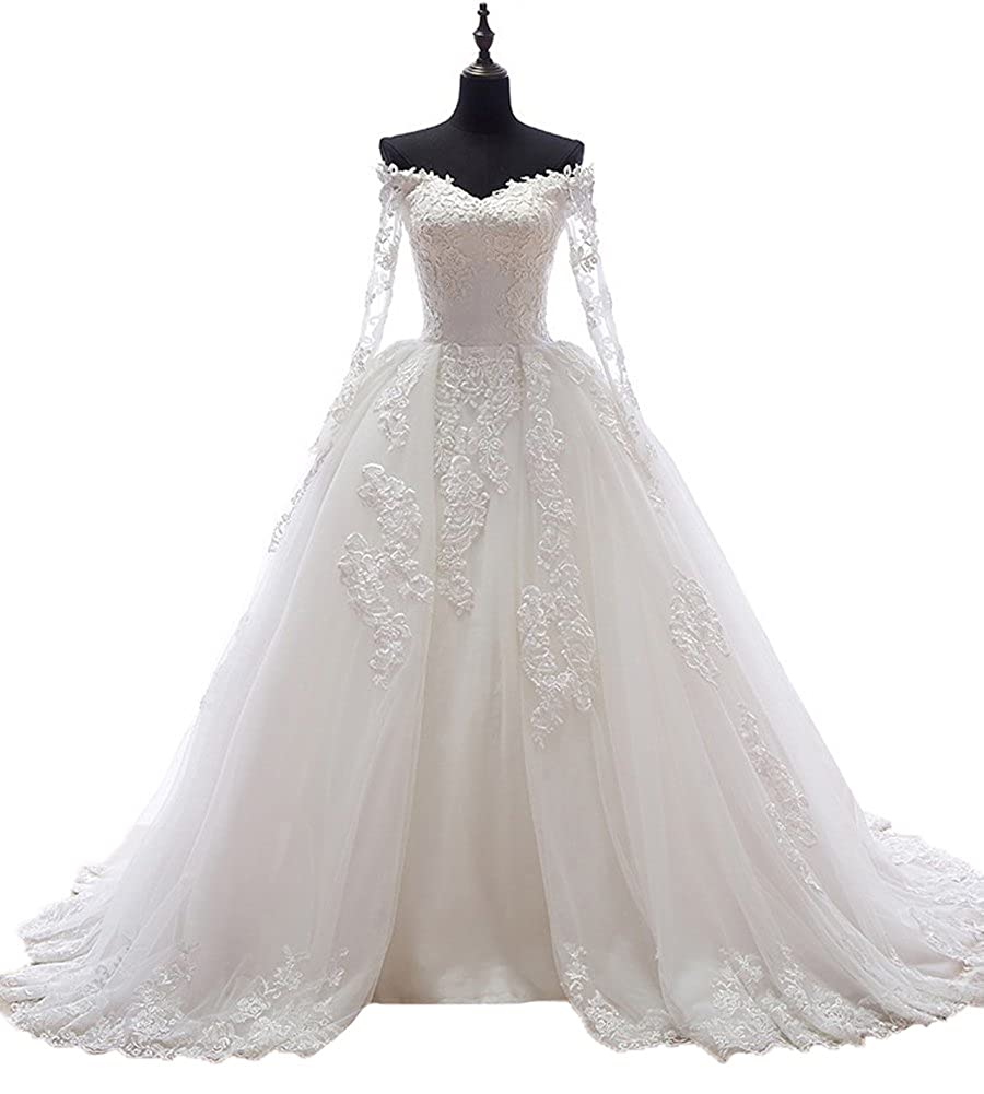 Beauty Bridal Boat Neck with Sleeves Long Train Sexy Wedding Dress for Bride 2016 at Amazon Womens Clothing store: