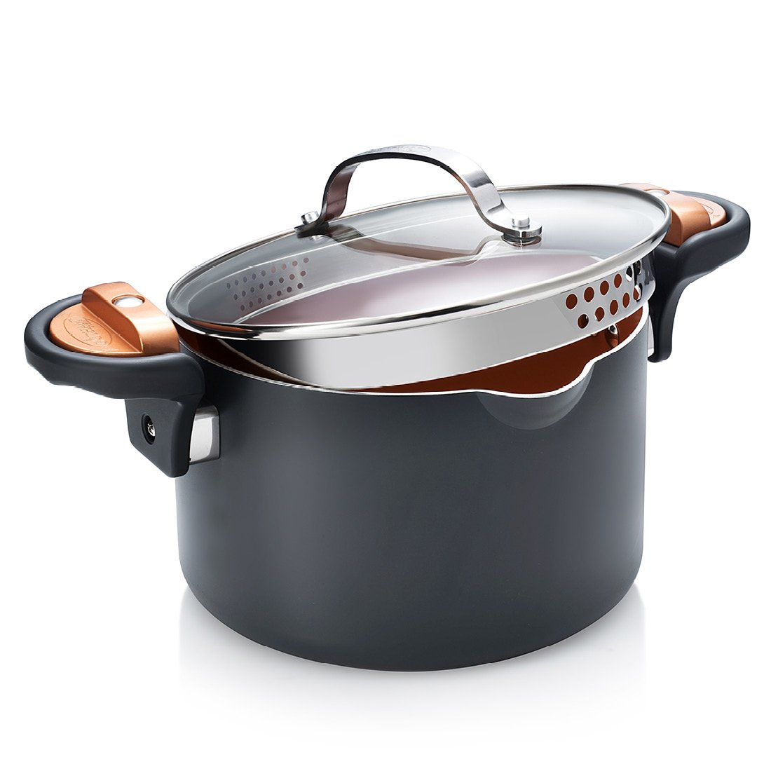 Gotham Steel Pasta Pot with Built-in Drainer / Strainer, 3.7 Litre Capacity Pasta Pan,Grey High Street TV GSPPIP