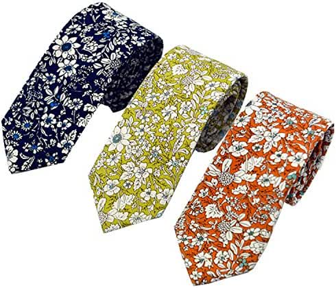 Men's Fashion Causal Cotton Floral Printed Tie Necktie Skinny Ties for Men Pack of 3