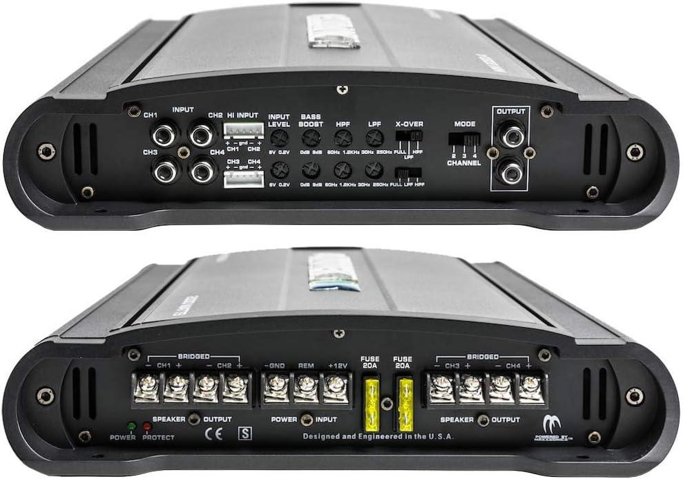 Marine Grade Protection Amp Bass Boost 4000 Watt Class A//B Autotek MM4020.4 Mean Machine Series Bridgeable Car Audio Amplifier 4 Channel