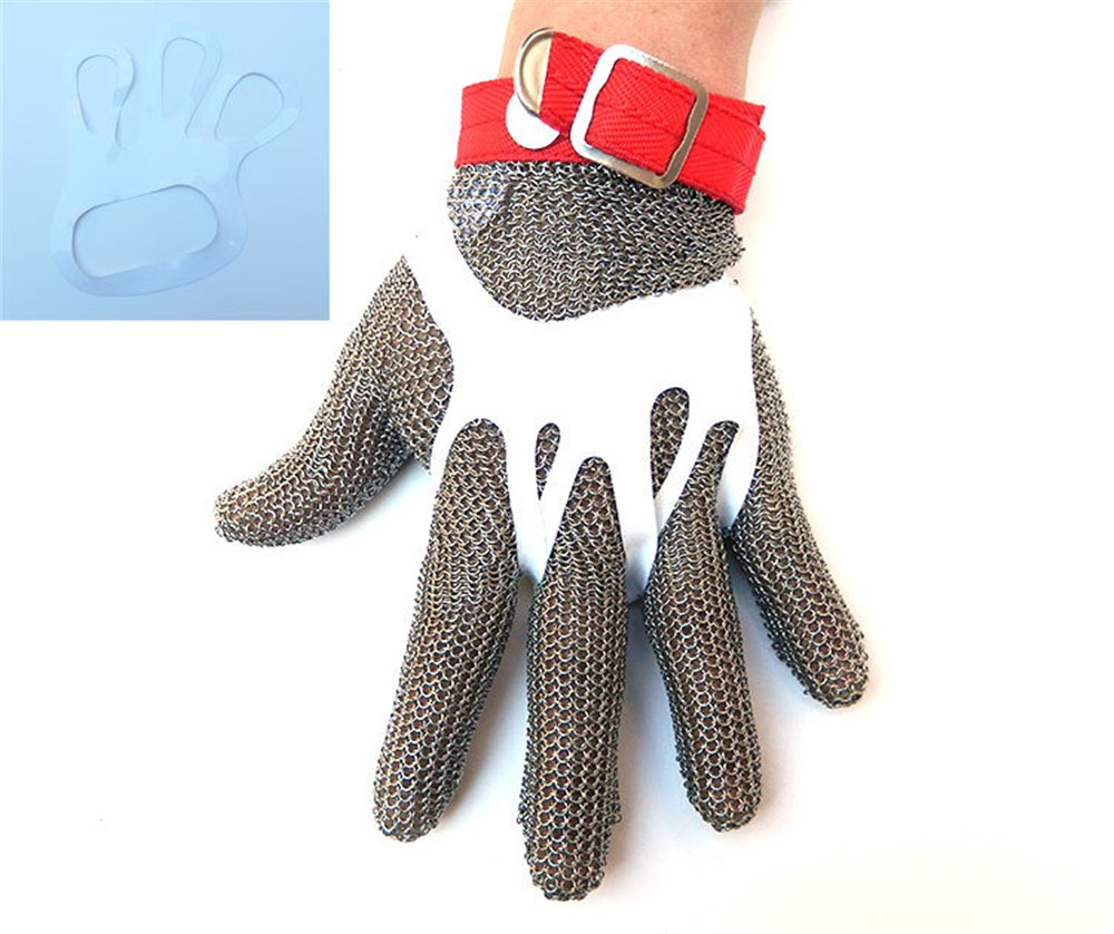 Inf-way 304L Brushed Stainless Steel Mesh Cut Resistant Chain Mail Gloves Kitchen Butcher Working Safety Glove - As Seen On TV 1pcs (Extra Large) by Inf-way (Image #3)