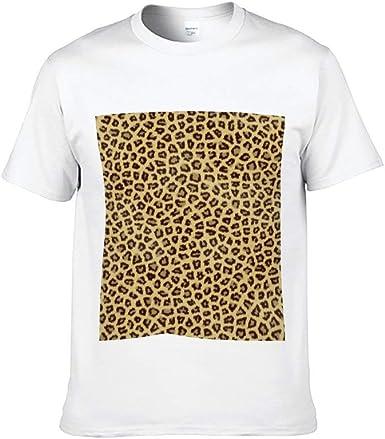 Mesllings - Camiseta de Manga Corta para Hombre, diseño de Leopardo, Color Blanco: Amazon.es: Ropa y accesorios