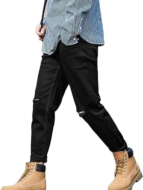 [BSCOOL]デニムパンツ メンズ スキニー ジーンズ ダメージ加工 デニム ファッション ロングパンツ 韓国ストリート系 スキニーパンツ ストレッチ ジーパン 黒
