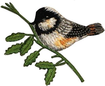 CHICKADEE FACING RIGHT IRON ON BIRD PATCH APPLIQUE