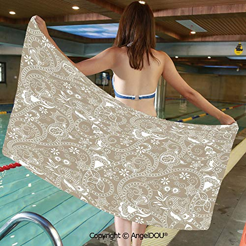 AngelDOU Printed Bath Sport Travel Beach Towels Monochrome Abstract Shapes Lines Swirls Flower and Leaf Silhouettes Checkered Design Men Women Shower Towels.W19.6xL39.3(inch) (Loft Bath Line Toilet Roll)