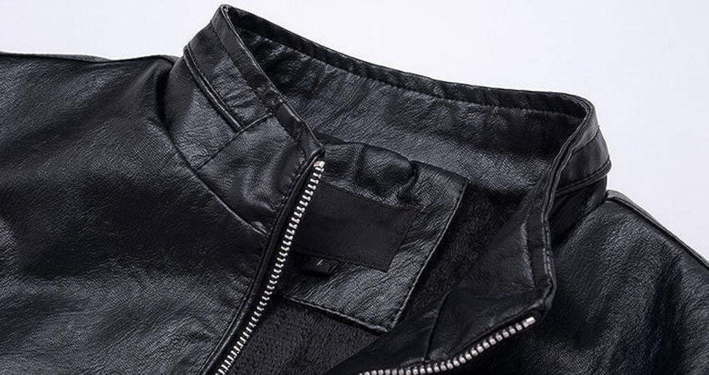 YangguTown YGT Mens Moto Stand Collar Fur Lining Warm Jacket Faux Leather PU Coat