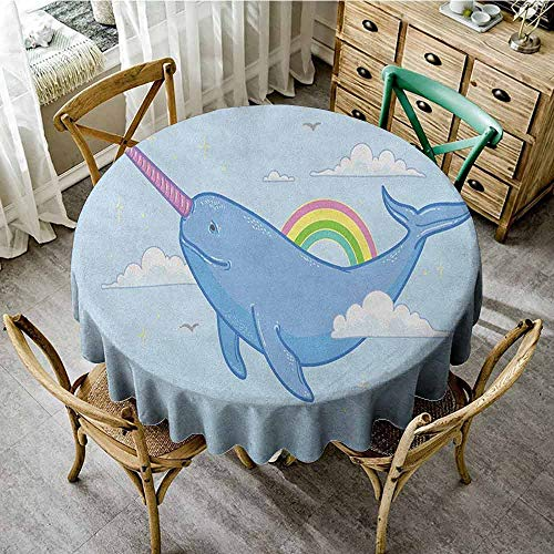 ScottDecor Dinning Tabletop Decoration Narwhal Abstract Fantastical Whale with Horn Flying in The Sky Among Clouds and Rainbow Multicolor Decorative Round Tablecloth Diameter 36