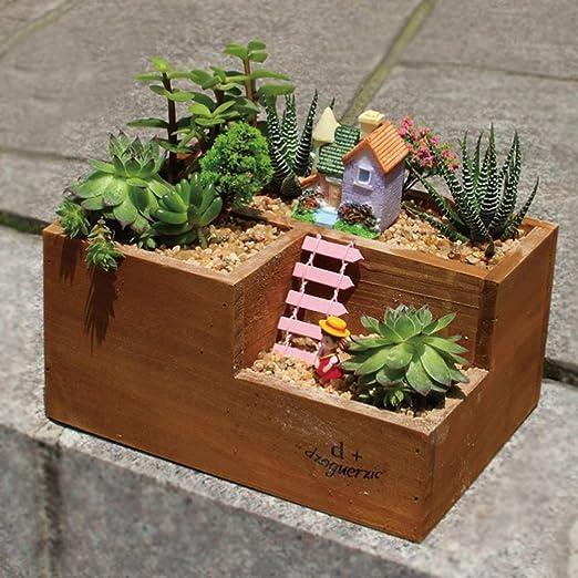 T-14898 Tritow Tres Enrejado Macetas de Madera Suministros de jardín Plantas suculentas Cactus Bonsai DIY Cactus Bandejas para el hogar Decoración de Escritorio Protección del Medio Ambiente Maceta: Amazon.es: Hogar