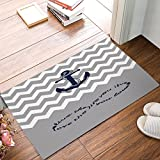 Love Infinity Forever Love Symbol Chevron Pattern With Nautical Anchor Turquoise Grey White Indoor Bathroom Kitchen Decor Rug Mat Welcome Doormat 18x30inch