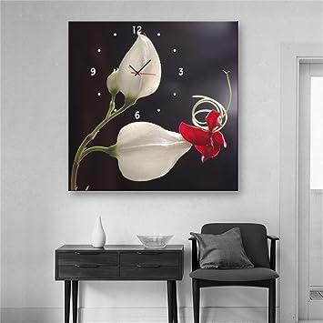 nauy-stile moderno lienzo pintura flor Rima Reloj de pared de 1pcs Lienzo: Amazon.es: Hogar