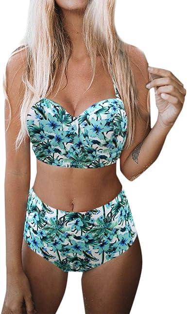 Conjunto de Bikini Ronamick,Mujeres Vendaje Bikini Tanga Traje de ba/ño Playa Ba/ño Ropa Interior de ba/ño Conjunto de Traje de ba/ño de Bikini con Vendaje Cruzado para Mujer(L2,MG