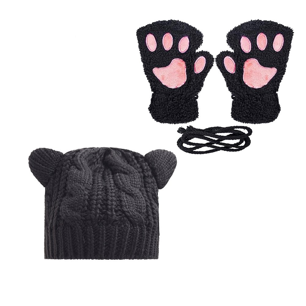 Women Cat Claw Mittens Bear Plush Paw Winter Gloves and Hat (Z-hat and gloves)