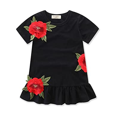 4711de293e8 Girls Summer Dress Floral Princess Dress Toddler Infant Baby Girls Short  Sleeve Flower Kids Dresses (
