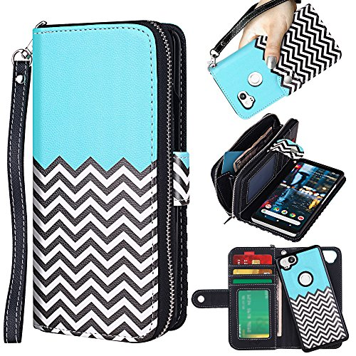 ELV Designed Google Pixel 2 Case [PU Leather] Slim Folio Wallet Purse Protective Magnetic Closer [Pull tab] Cover for Google Pixel 2 - Zigzag