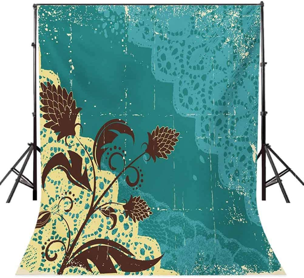 Vintage 6.5x10 FT Photo Backdrops,Flower Arrangement Lacework Old Aged Distressed Antique Display Background for Child Baby Shower Photo Vinyl Studio Prop Photobooth Photoshoot