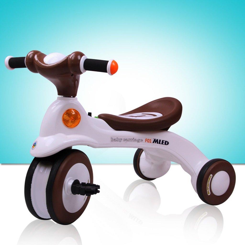 子供の三輪車バイクベビーカー3-6歳の音楽ライトペダルカー、ブラウン、650 * 395 * 495ミリメートル B07C4NLB9Y